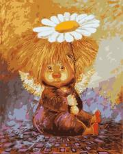 Картина по номерам 40Х50 Ангел с ромашкой.