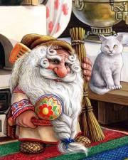 картина по номерам 40Х50 Домовой и кот.