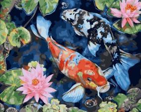 картина по номерам 40Х50 Рыбы.