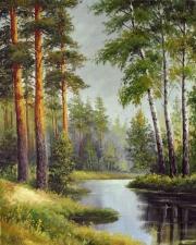 Картина 40Х50 Река в лесу.