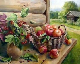 Картина по номерам 40Х50 Калина и яблоки.